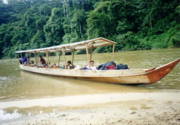 Motorized sampan at Taman Negara National Park